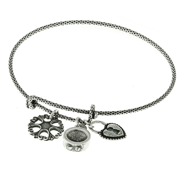 Metal casting charms on Thin Snake bangle bracelet base with pattern