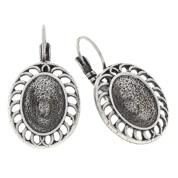 14x10mm Oval with holes in frame Lever back earring base