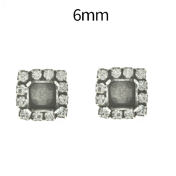 6mm Imperial 4480 Square Stud Earring bases with Rhinestoness