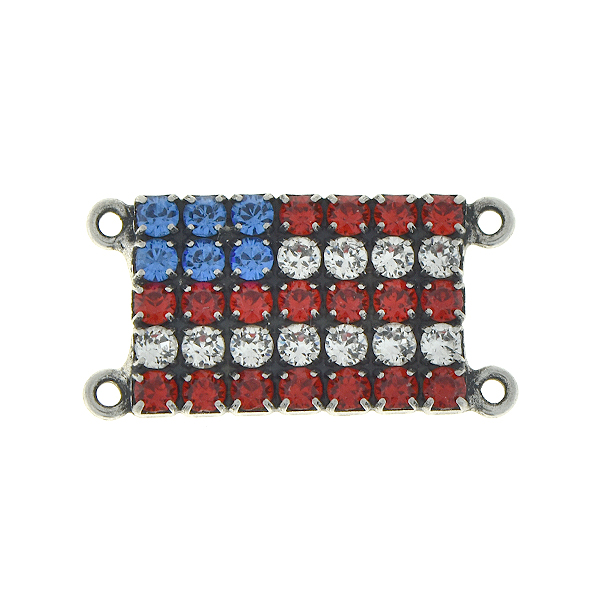 Flag of USA 18pp Rhinestones pendant/connector with four loops