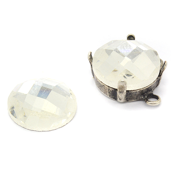 12mm Crystal color Rivoli faceted cabochon