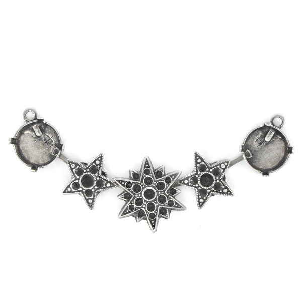 12mm Rivoli Centerpiece for Necklace with metal North Stars