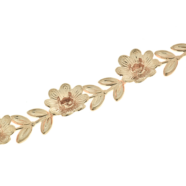 Unique 24ss Flower Branch with Leaves Cup chain for Bracelets by meter