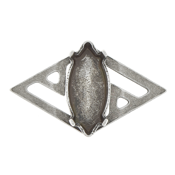 15x7mm Navette pendant base with ethnic style rhombus