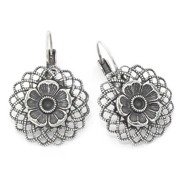24pp Flower with Convex Filigree Earring base
