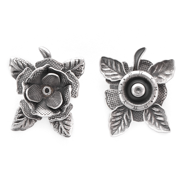 24ss Rose with leaves Snap Button Jewelry
