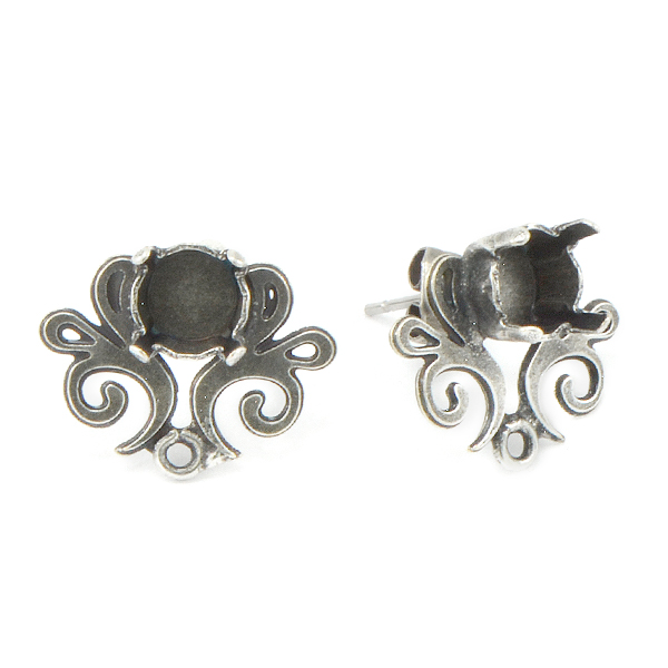 29ss Stud Earring base with Vintage Floral Decor and bottom loop