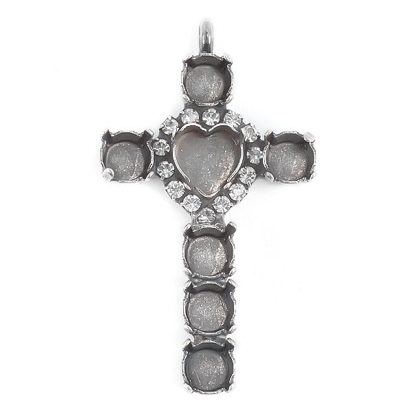 8.8X8mm Heart Setting and 29ss Settings cross pendant with crystals