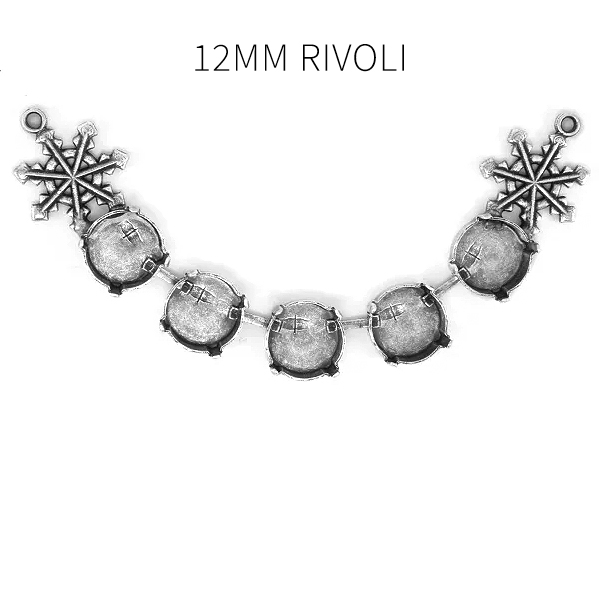 12mm Rivoli Centerpiece for Necklace with Snowflakes