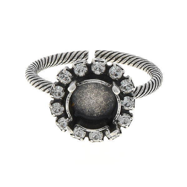 39ss Solitare thin ring base with Rhinestones