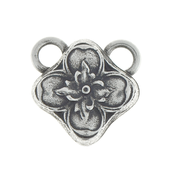 Floral square metal pendant with two 5mm top loops