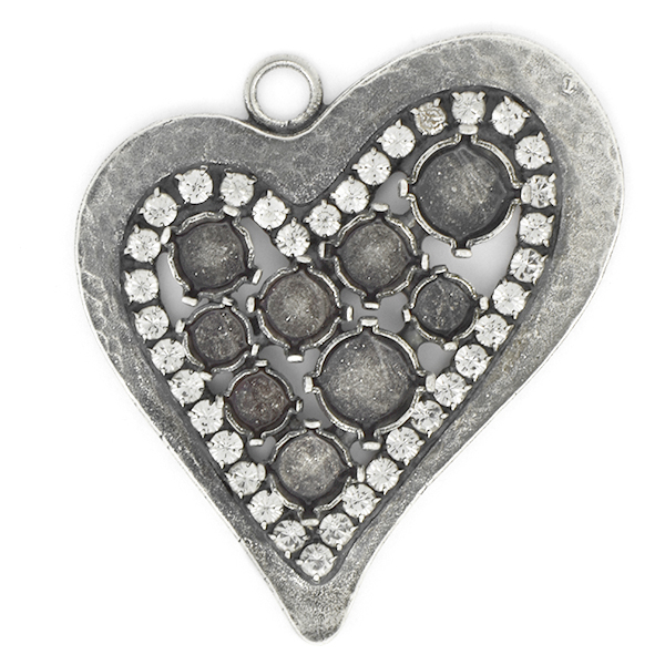24ss, 29ss, 39ss Heart Pendant base with Rhinestones