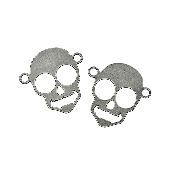 17mm Skull pendant with two top side loops - 4 pcs/pack