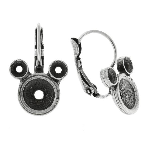 32pp and 39ss Metal Casting Mouse Lever Back Earring bases