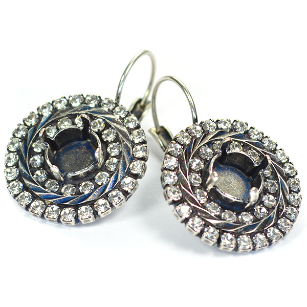 39ss Round Lever back Earring base with Rhinestones