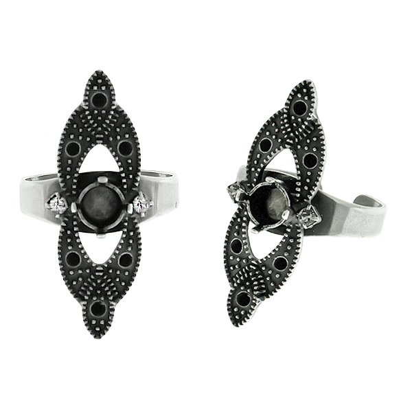 29ss metal casting with Rhinestones adjustable ring base