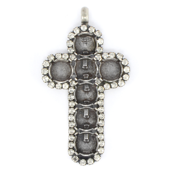 39ss Cross pendant base with small crystal stones around