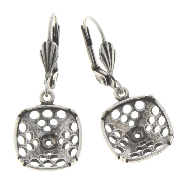 12x12mm Square Perforated Lever back earring base with shell element