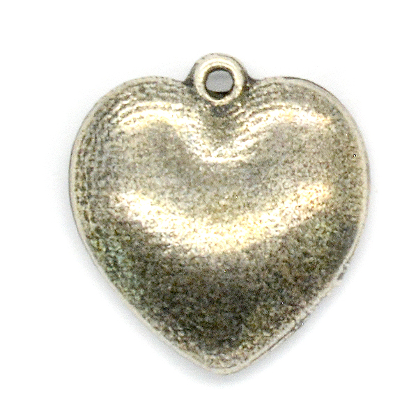 20.6mm Heart shape puffy pendant base with top loop