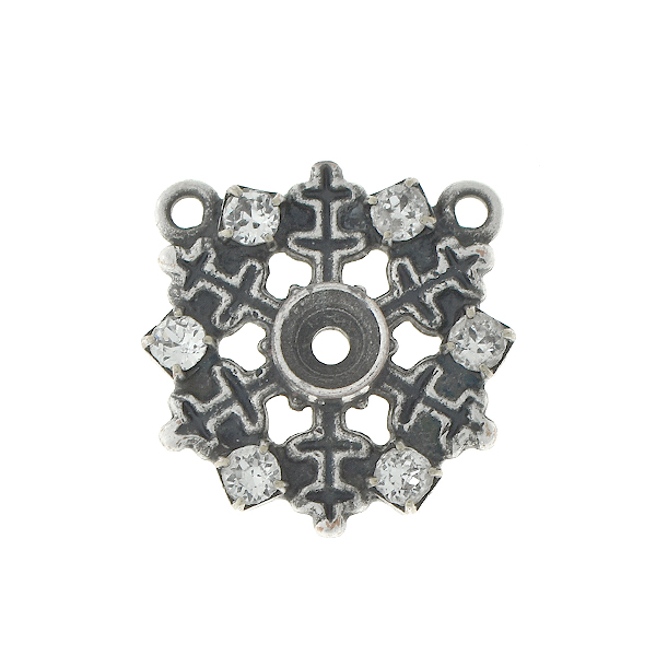 32pp Snowflake pendant bases with and two top loops