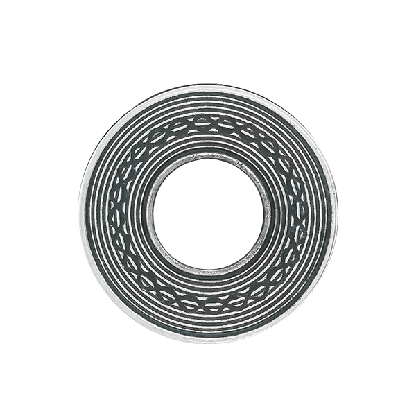 Round metal casting decorative element with loops