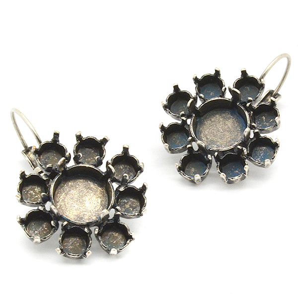 Flower hanging earrings base with 10mm and 24ss settings