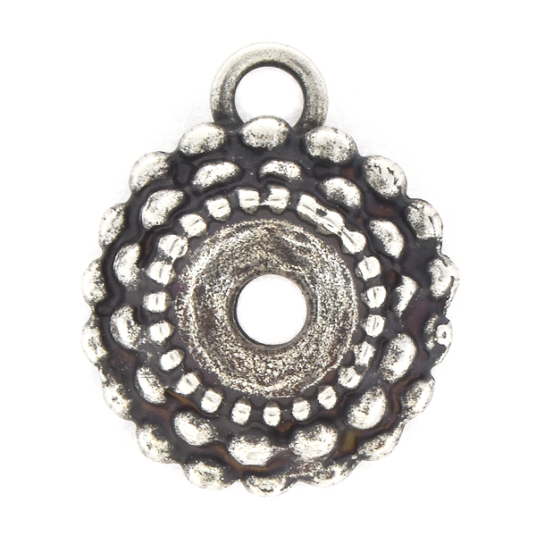 39ss Round Spotted Pendant base with top loop