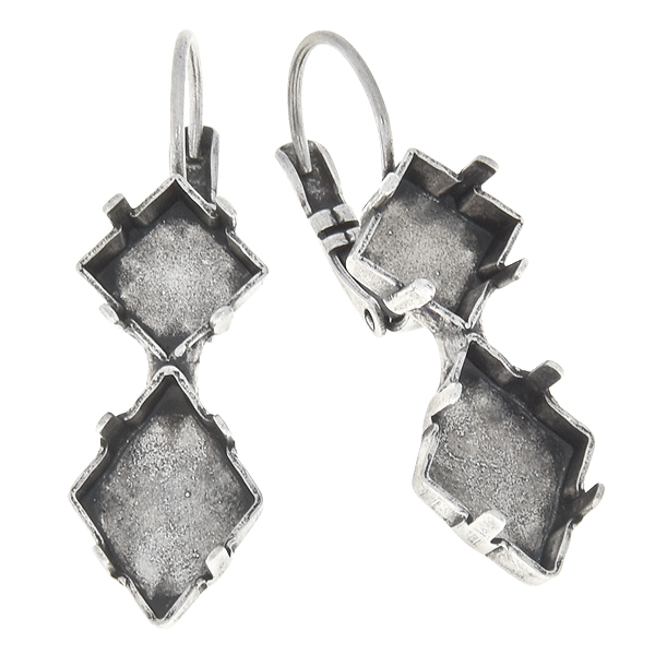 8x8mm Square, 14x10.5mm Tilted Spike Lever back earring base
