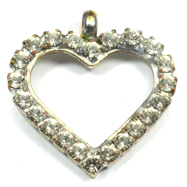 Heart pendant base with Rhinestoness and a top loop