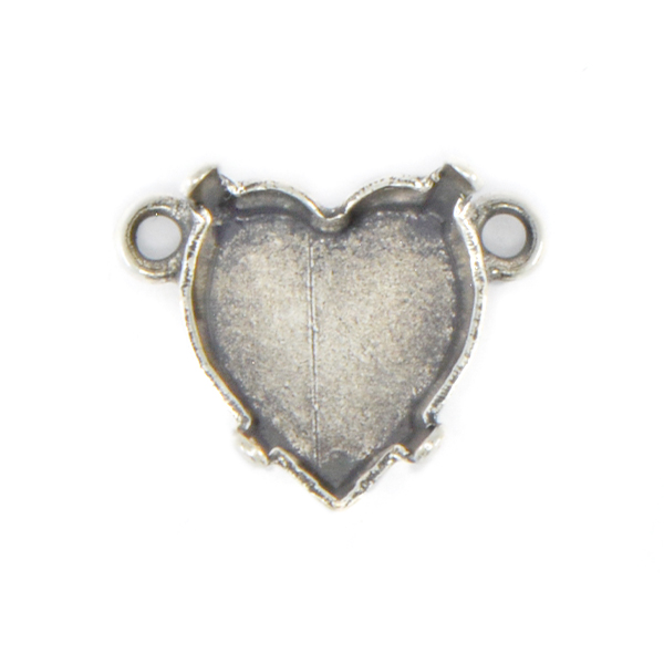 11x10mm Heart Stone setting with two top loops