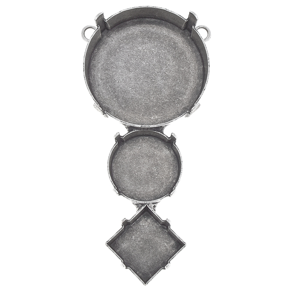 27mm Round, 16mm Rivoli, 12x12mm Princess Square Pendant base with two top loops