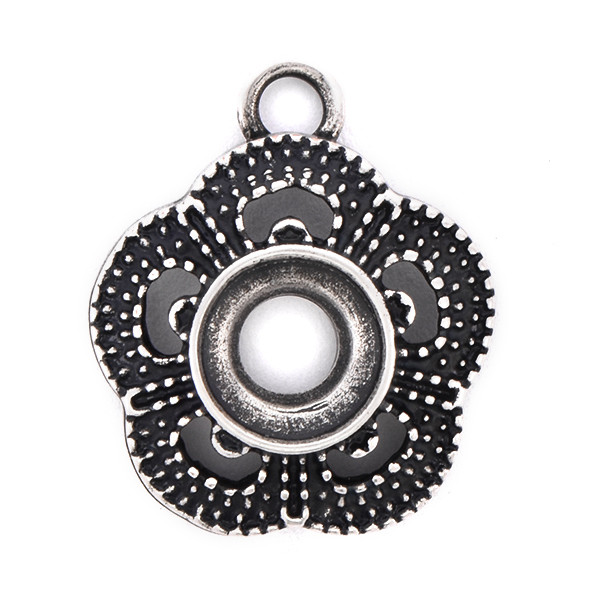39ss/8mm open back Flower Pendant with top loop
