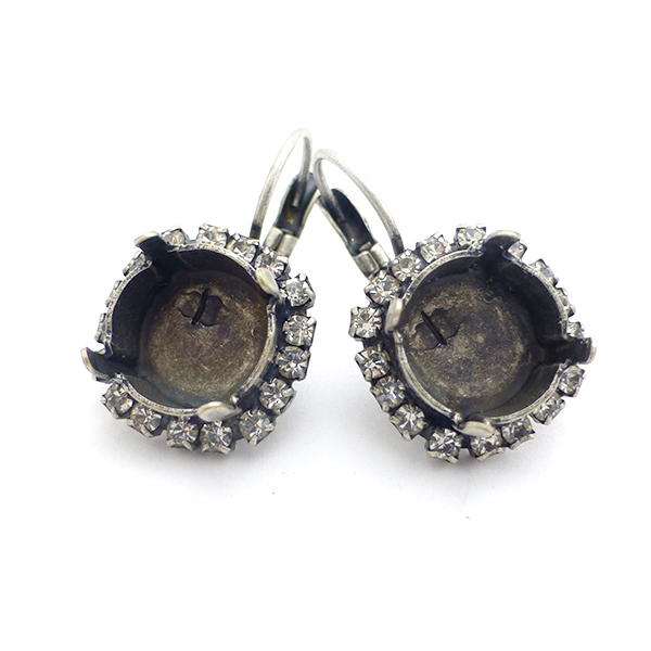 47ss Lever back Earring settings with Rhinestones