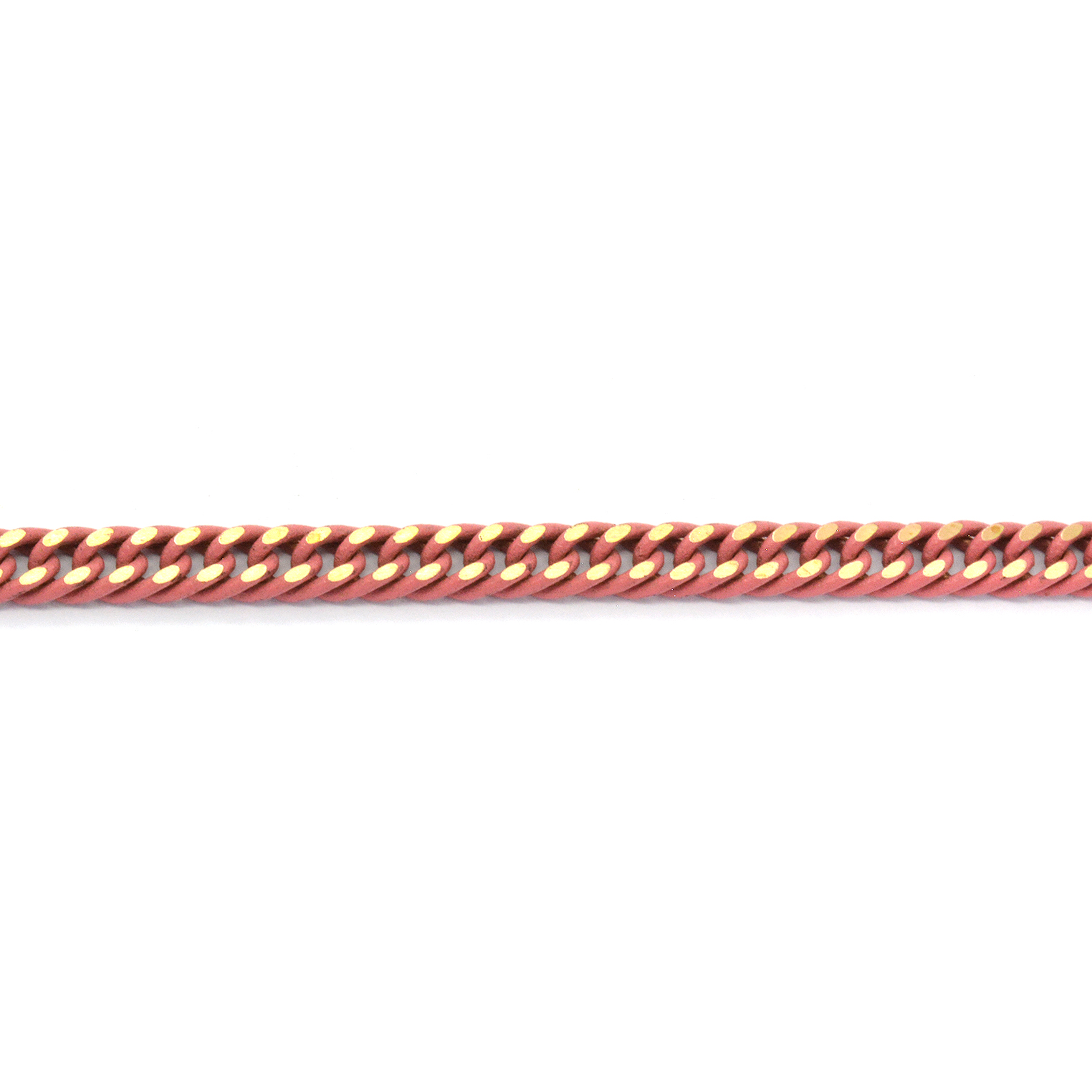 Polished pink enamel stainless steel curb (gourmette) chain 4mm