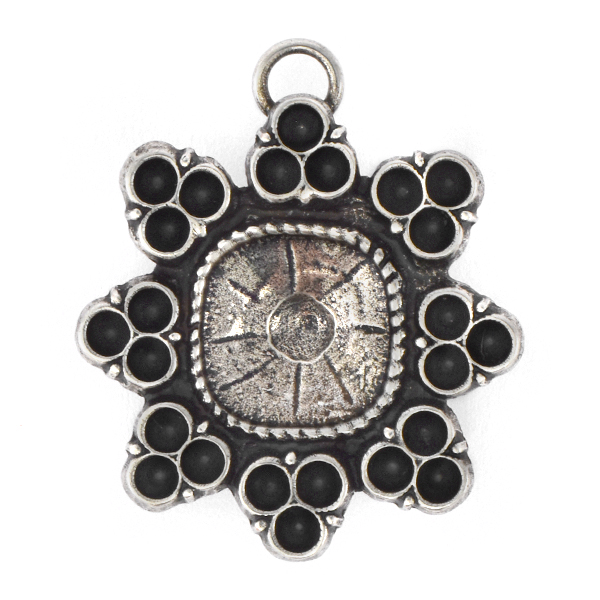 18pp, 12x12mm Square Sunflower Stone setting with top loop