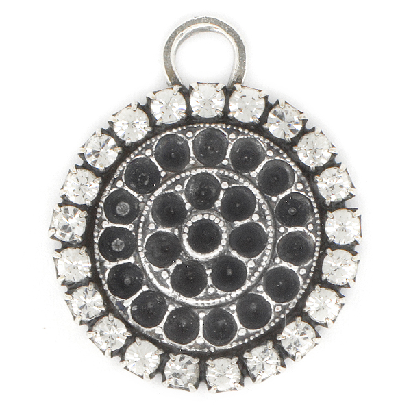 18pp Pendant base with Rhinestoness and top loop