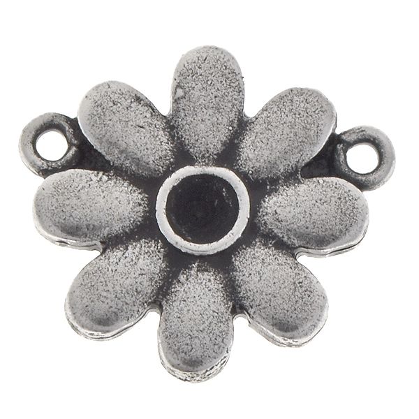 24pp Daisy flower metal pendant base with two top loops
