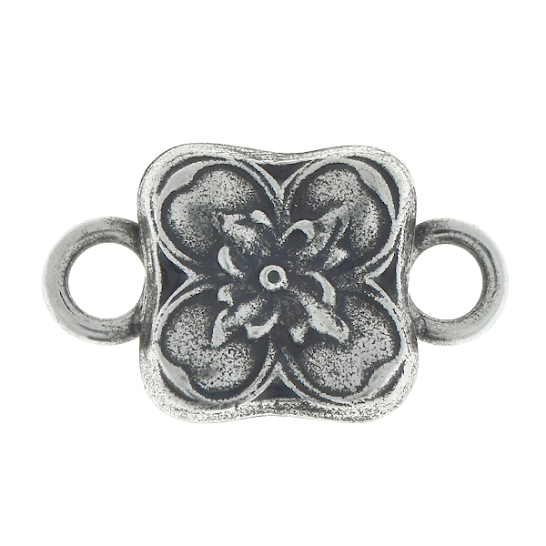 Floral square metal pendant with two 5mm side loops