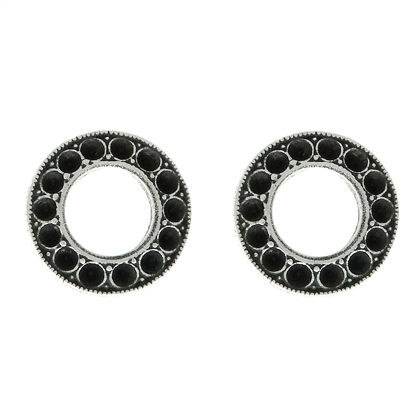 8pp Hollow Circle metal casting Stud Earring bases