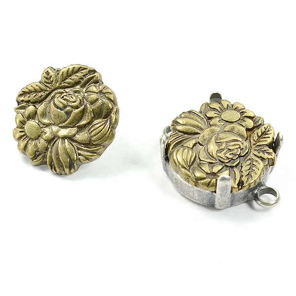 Flower embedding buttons for 12mm setting