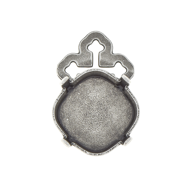 12x12mm Square pendant base with cross-shaped top loop