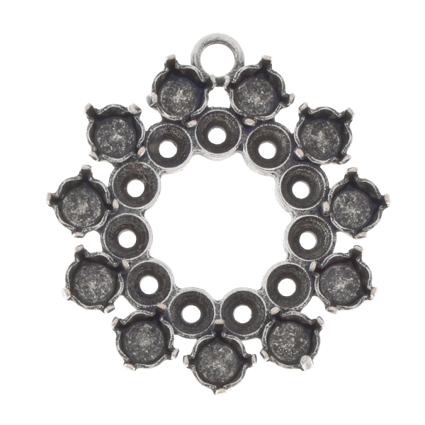 32pp, 24ss Hollow circle pendant base with one top loop