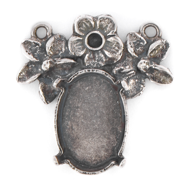 14pp, 14x10mm Oval Pendant base with Flowers and 2 loops