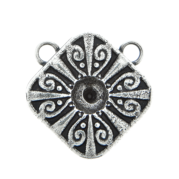 Metal casting Square Chinese ornament element for one 24ss crystal Pendant base with two top loops