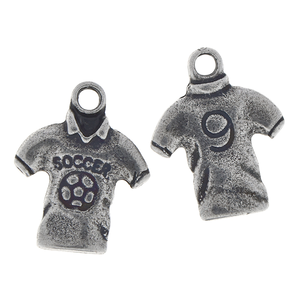 Metal casting Soccer T-Shirt Charm with top loop