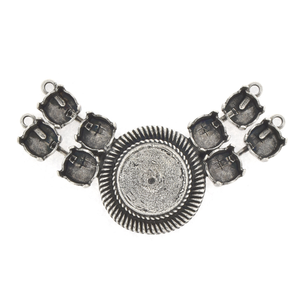 39ss, 14mm Rivoli with lines Centerpiece for Necklace with 4 loops