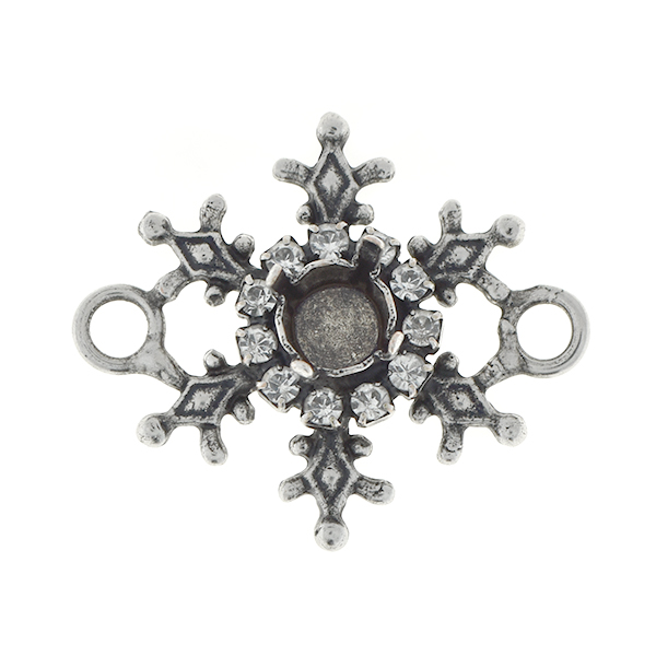 29ss Stellar snowflake pendant base with and two side loops