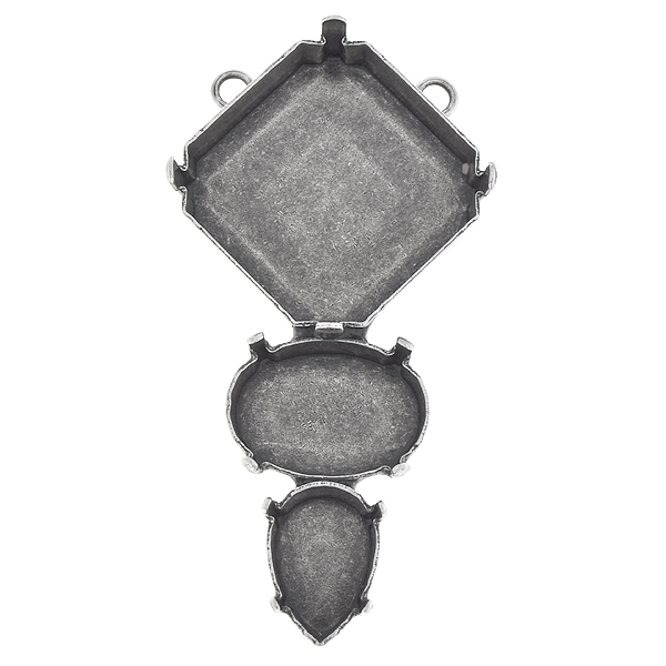 23mm Fancy Square, 18x13mm Oval, 14x10mm Pear shape Pendant with two loops