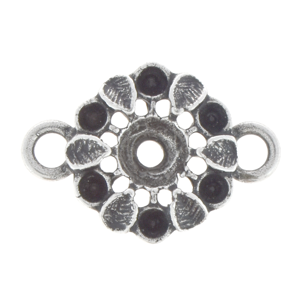 14pp, 24ss Flower with leaves jewelry connector with two loops