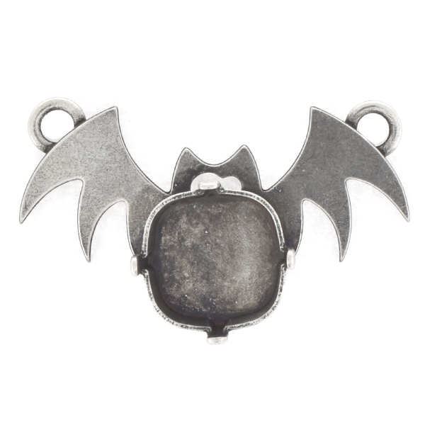 12x12mm Square Bat Pendant base with two top loops